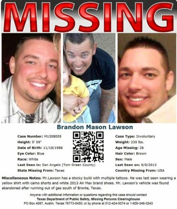 Brandon Lawson Missing Poster