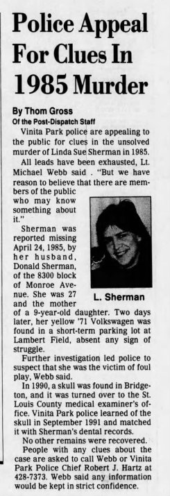 Linda Sherman Newspaper Clipping